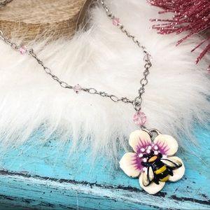 Brighton Marvels Bumblebee Flower Crystal Necklace